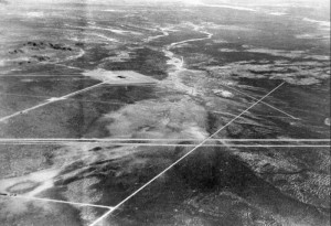 Dugway Proving Ground, aerial view, 1947. ダグウェイ実験場。